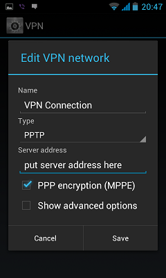 Setup VPN on Android device